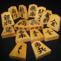 将棋駒 香松作 盛上 赤糸柾 錦旗書