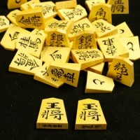 御蔵島産黄楊材 竹風作彫駒 水無瀬書 本榧駒箱セット