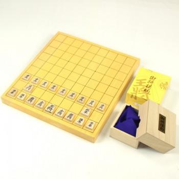 本榧(日本産)将棋盤10号(1寸)柾目 + 将棋駒(楓上彫)セット・盤のみ選択