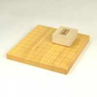本榧将棋10号(1寸)卓上一枚物 + 将棋駒 楓上彫付セット・盤のみ選択