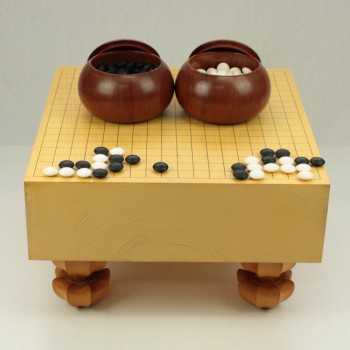(中古)本榧碁盤 6寸木表+碁笥 本花梨特大+本蛤碁石 31号