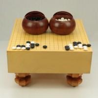 (中古)本榧碁盤 4.2寸木表+碁笥 本花梨特大+本蛤碁石 31号